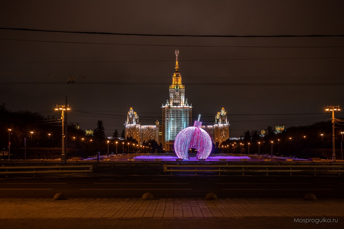 Световая инсталляция - новогодний шар на Воробьёвых горах