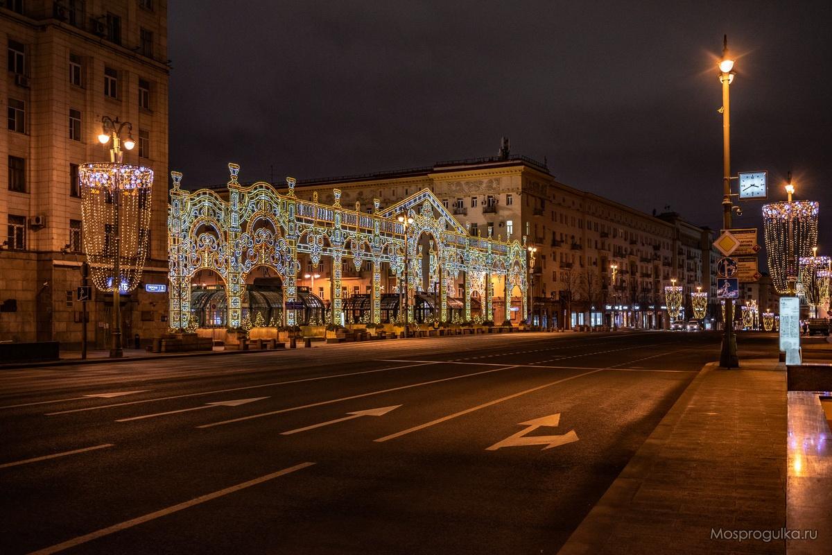 Световая арка на Тверской площади